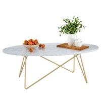 طاولة القهوة الرخام تأثير الجانب نهاية أريكة الشاي مكتب البيضاوي الأبيض مع إطار معدني 120x60x41cm