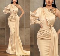 Champagne Mermaid Satin Evening Dresses Crystal Beaded Long Sleeves Prom Dress Dubai Plus Size Women Formal Party Gowns Robes De Soiree
