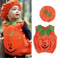 Clothing Sets Baby Halloween Pumpkin Outfits Cosplay Costume Toddler Boys Girls Vest Tops+hat Outfits#Q