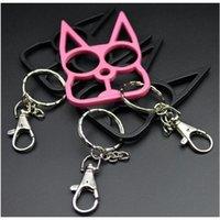 self defense Cat keychain Buckleense Weapon Toy Model Outdoor Ring Four finger Tool Christmas gift Key Rings Sefl-Def