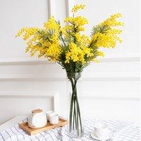 Gefälschte Wattle / Acacia Mimosa Spray 85 cm Garland Künstliche Blume Dekoration Pflanze Gelb oder Weiß Farbe 462 V2