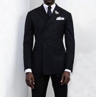 2021 Neue schwarze Herrenanzüge Bräutigam Outfit 2 Stück Zweireiher Spitzenrunker Slim Fit Formale Business-Smoking für Hochzeit (Blazer + Hosen)