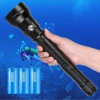 Фонарические фонари Факелы Профессиональная дайвинг SCUBA XHP70.2 Super Bright 26650 Светодиодный подводный горел 200м XHP70 IPX8 Водонепроницаемый погружение