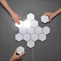 DIY Quantum Lamp Touch Sensor Modular Ljus Hexagonal Lampa Led Night Light Magnetic Hexagons Creative Decoration Wall Lampara I lager