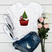 Women's T-Shirt Women Graphic Cartoon Cupcake Tree Gift Female Womens Clothes T Tee Shirt Happy Print Merry Christmas Ladies Top Tshirt
