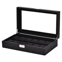Watch Boxes & Cases 12-Bit Storage Box Display Stand Black Leather Jewelry