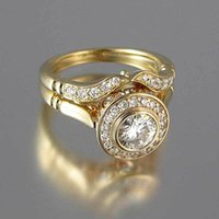 Роскошные женские обручальные кольца Установите старинные хрустальные 18kt желтый золотой цвет стекаруют кольцо обещания кольца для женщин