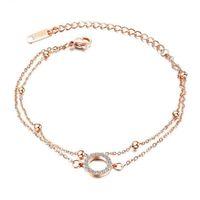 Aço inoxidável rosa círculo de ouro zircon cadeia de pedra link pulseira pulseira jóias minimalismo presente para ele