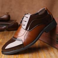 Buena calidad Hombres zapatos de cuero Pisos Tamaño 38 44 New Fashion Hombres Vestido Zapatos Negocios Oxfords formales Q8on #