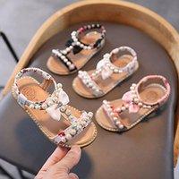 Sandals Girls Beading Sweet Soft Children's Beach Shoes Kids Summer Floral Princess Fashion Cute Outdoor Slippers