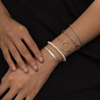 Link, Chain Fashion Imitation Pearl Bracelet For Women Gold Silver Color Layered Rope Snake Charm On Hand Party Boho Jewelry