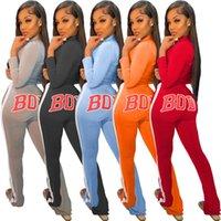 Aktif Vücut Mektubu Tomun kadın Set Fermuar Ceket Pantolon Suit Streetwear Eşofman İki Parçalı Set Spor Kıyafet Artı Boyutu