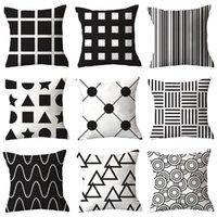 Cushion Decorative Pillow Cross-Border Plain Simple Black Geometric Plush Pillowcase Home Fabric Sofa Cushion Cover Customization