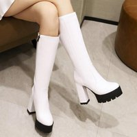 Boots Punk Style Autumn Winter Patent Leather Shoes Women Mid Calf High Heels Red Black Thick Platform Long Knee Boot