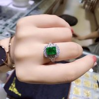 Cluster Rings Anniversary Ring Natural And Real Emerald 925 Sterling Silver Fine Jewelry For Men Or Women