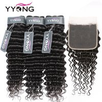 Bulks per capelli umani Yyong 4x45x5 Chiusura con bundle 8-30 pollici Brasiliano Deep Wave Remy 3/4 Pz Weave