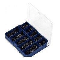 100 unids / caja de pescado de peces de alto carbono de acero de carbono 3 # -12 # 10 series en gancho de pesca con mosca Gusano Pasca Pesca Pesca Titular de cebo Jig Ho Jllzty