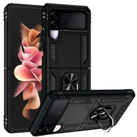 Armor Magnetic Cases For Samsung Galaxy Z Flip3 Flip 3 5G Case Car Holder Silicon Ring Hard Cover