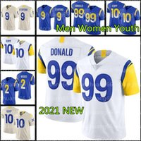 "9 Matthew Stafford 99 Aaron Donald Football Los Angeles ""Rams"" 2 Robert Woods Jerseys 10 Cooper Kupp 5 Jalen Ramsey Desan Jackson Sebastian hommes femmes jeunesse"
