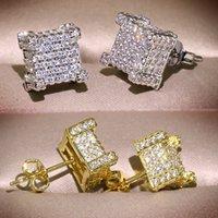 Мужчины Женщины Золотые Серьги Gold Hip Hop Ювелирные Изделия CZ Имитация Алмазные Серебряные Модные Площадь Серьги