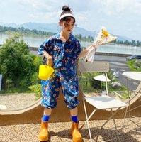 Tatlı Kızlar Çiçek Baskılı Tulumlar Moda Çocuk Yaka Çift Cep Kısa Kollu Tulum Yaz Çocuk Bodysuit Giysileri Q0351