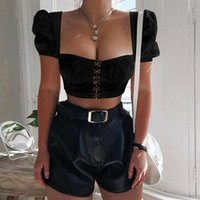 Vintage French Style Women Summer Short Puff Sleeve Deep Squ...
