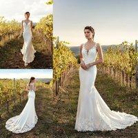 Eddy k gaine robes de mariée magnifique dentelle applique balayage train robe de mariée robe sans manches Sexy sirène robe de mariée