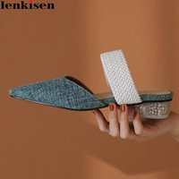 Dress Shoes Lenkisen Chinese Style Mature Cow Suede Pointed Toe Low Crystal Heels Straw Mules Lace On Sweet Fairy Gorgeous Fashion Pumps L12