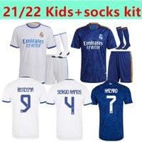 Дети 21 22 Real Madrid Футбол Футбол Джордс Опасность Benzema Isco Rinie Sergio Ramos Modric Bale Football Jersey Men Kit Hombres Niños CamiSetas
