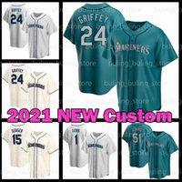 2021 New Custom Mariners Jersey 24 Ken Griffey JR 51 Ichiro Suzuki 18 Yusei Kikuchi 20 Daniel Vogelbach 17 Mitch Haniger Baseball 시애틀