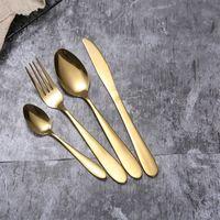 4 teile / satz Gold Besteck Löffel Gabel Messer Tee Löffel Matte Gold Edelstahl Lebensmittel Silber Geschirr Geschirr Set RRA2833-7 523 R2