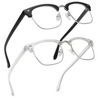 Uomo classico Donne da donna Glasses Unisex Mezzo telaio in metallo TR90 Blue Light Blocking Eyeglasses Temple flessibile con UV400