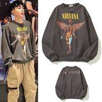 Brand Nirvana Felpe con cappuccio Mens Angel Hoodie Rock Band pesantemente lavato e anziani donne donne high street felkshirts coppia sciolto retrò casual streetwear maglione