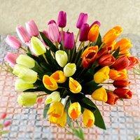 Fiori decorativi Corone Artificiale Fiore Artificiale Tulipano Latex Reale Bridal Bouquet da sposa Falso Giardino da giardino Falso Giardino da giardino Decorazione per la casa Fleurs Artificielles