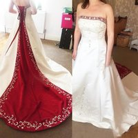 Vintage Red And White Satin A Line Wedding Dresses 2021 Real Image Plus Size Embroidery Beaded Bridal Gowns For Garden Country Wedding Dress