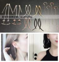 Simple face-shaped straight wave Z-shaped cross smile smile silver earbone nail earring Luxurys Designers jewelry