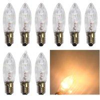 10pcs / pack / confezione E10 LED Lampadine di ricambio Top Candela Fata Luci natalizie Lampada 10V-55V AC Caldo Bianco Decor Christmas WH JLLOZZC