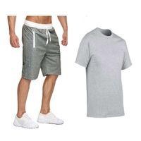 tracksuitsMen Training suit Summer Second set T-shirt Shorts Brand Track clothes Men's sweaters Sports suits Man