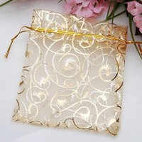 Drawstring 9*12CM 100pcs Jewelry Pouches Wholesale Organza Bags Gold Color Packaging