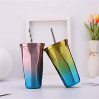 500ML Gradient Color Straw Cup Fashion Rhombus Thermos Cups Water Bottles