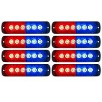 10 STÜCKE rot + Blau Notfallblitzlichter 6-LED Warnung 6-SMD Blinklicht Vorsicht Konstruktion Licht Bar Van Off Road Fahrzeug ATV SUV