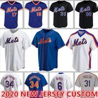 2020 Custom 20 Pete Alonso Mets Jerseys 48 Jacob Grom Baseball 18 Darryl Strawberry 31 Mike Piazza Conforto Gooden Hernández Rosari