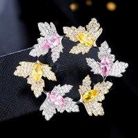 Épingles, Broches Belle guirlande avec broche Pin Crystal autrichien Zircon Cubic Couronne de feuilles pour femmes Bijoux Cadeau 2021