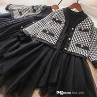 children Fall clothing sets 2021 cute baby girls long sleeve lace tulle tutu dress+ plaid outwear 2pcs suits autumn kids princess outfits S1620