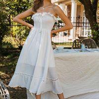 Повседневные платья Simpleee 2021 Sunmmer белый без бретелек Somcking платье шикарное взбитые сексуальные выдолбленные взбиты элегантные женщины