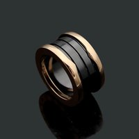 fashion Titanium Steel Love Wide Ring Silver Rose Gold Rings for lovers white black Ceramic couple ring For gift Size from 5 to 12