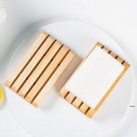 Handgemachte hölzerne Seifenhalter Kiefer Seifenschale Badezimmer Seifenschalen mit Nut Multifunktional Küchentool HWE5248