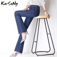 Jeans de mujer Karsany Plus Tamaño Mamá Mamá Taille Haute Flare Estirar Pantalones Denim Negro Alto Cintura Bell Bottom