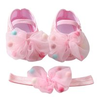 First Walkers Baywell Born Infant Baby Girl Shoes +Headband Set Soft Sole Bowknot Princess Toddler Prewalkers 0-24Month