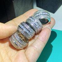 크기 5-12 놀라운 많은 주식 럭셔리 쥬얼리 Hihg 품질 925 스털링 실버 서클 공주 화이트 토파즈 CZ 다이아몬드 여성 웨딩 밴드 반지